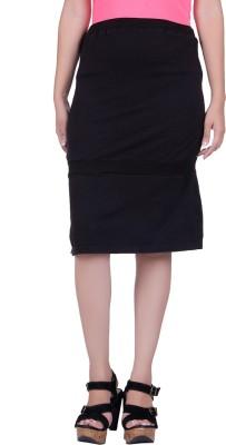 Lluminati Solid Women's Tiered Black Skirt