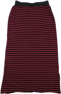 Chemistry Girl Striped Girls A-line Black, Maroon Skirt at flipkart