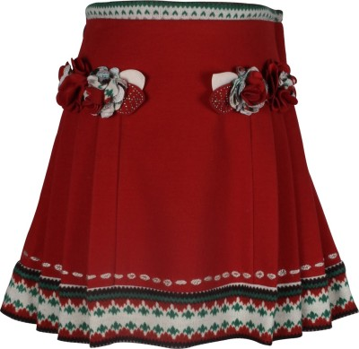 Cutecumber Solid Girl's A-line Red Skirt