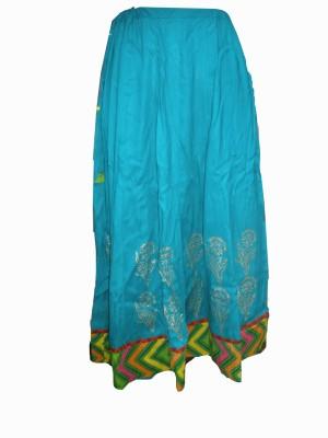 Vg store Self Design Women's Regular Light Blue Skirt