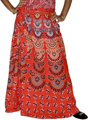 Ooltha Chashma Printed Women's Wrap Around Red Skirt