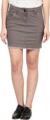 Species Solid Women's Straight Brown Skirt