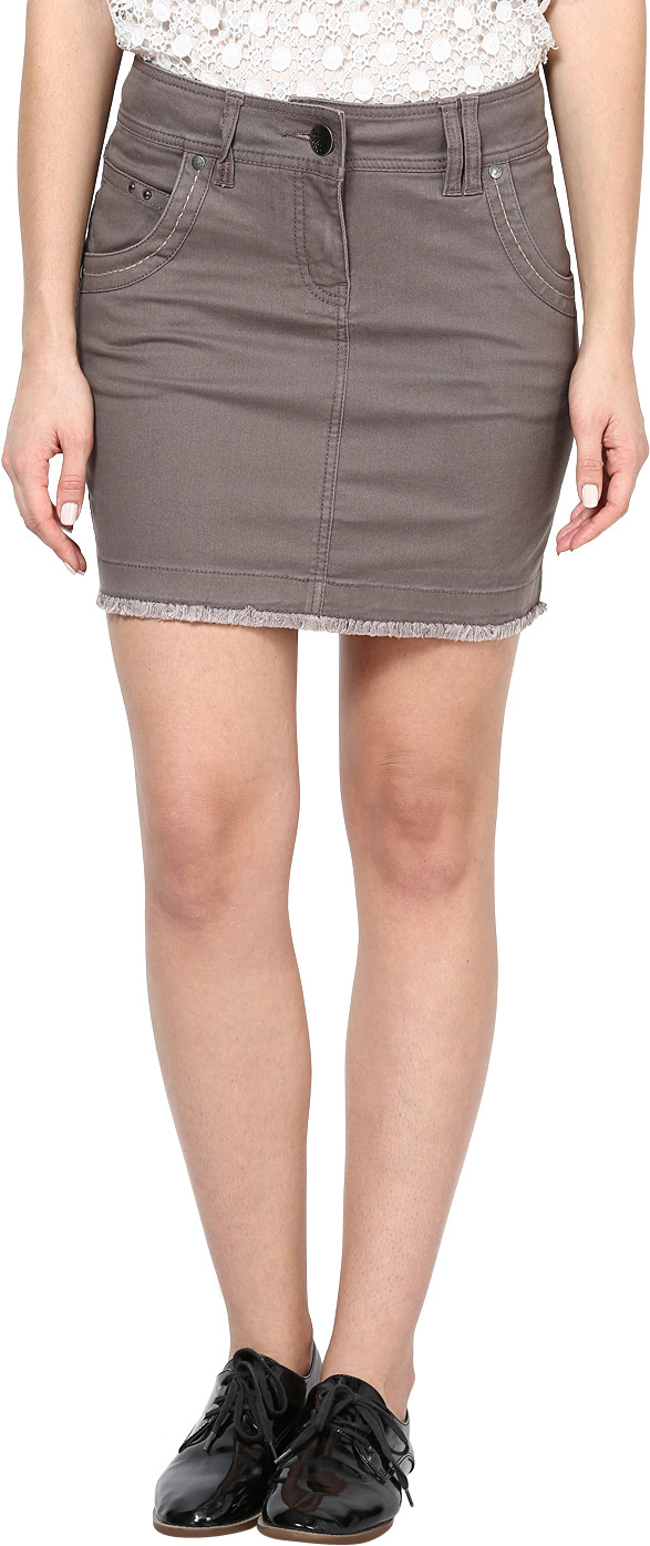 Species Solid Womens Straight Brown Skirt