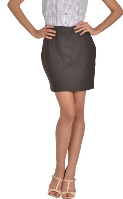 Bombay High Solid Women's Pencil Brown Skirt