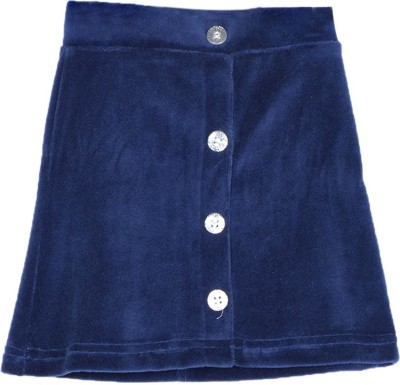 Lil Orchids Solid Girl's Straight Dark Blue Skirt
