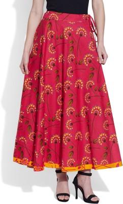 Very Me Printed Women's Pleated Pink Skirt at flipkart