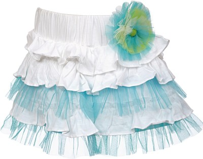 Lil Poppets Solid Girl's Layered Blue Skirt