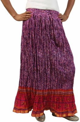 Saffron Craft Printed Women's Gathered Purple Skirt