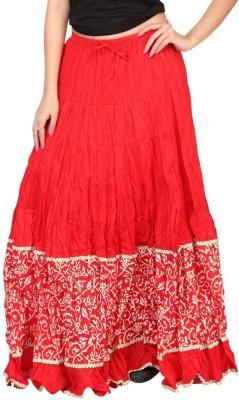 Carrel Printed Women's Broomstick Red, Beige Skirt