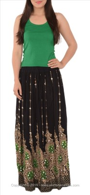 Skirts & Scarves Self Design Women's A-line Black Skirt