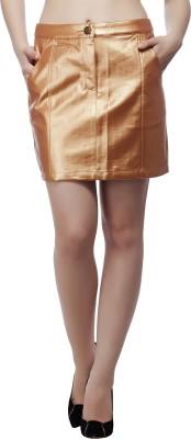August Street Solid Women's Regular Gold Skirt