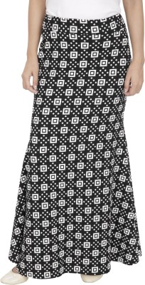Franclo Solid Women,s Gathered Black, White Skirt