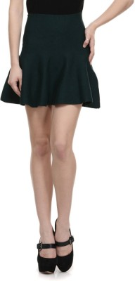 N-Gal Solid Women's Bubble Dark Green Skirt