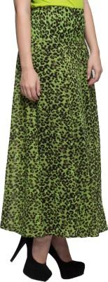 TRYFA Printed Women's Regular Green Skirt