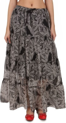 One Femme Printed Women's Tiered Multicolor Skirt