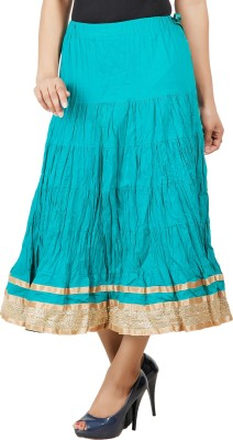 Adaab Solid Women's Layered Green Skirt