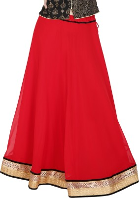 Sanchi Global Solid Women's Broomstick Red Skirt