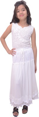 Titrit Solid Girl's Gathered White Skirt