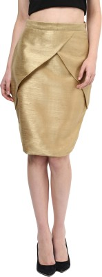 Miss Chase Solid Women's Pencil Beige Skirt