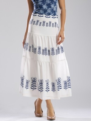 Dressberry Printed Women's A-line White Skirt at flipkart