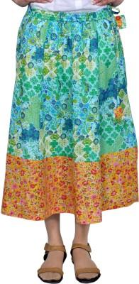 Chidiyadesigns Printed Women's A-line Green, Yellow Skirt