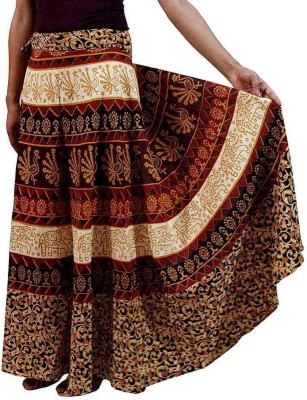 Dimpy Garments Printed Women's Wrap Around Brown, Beige Skirt