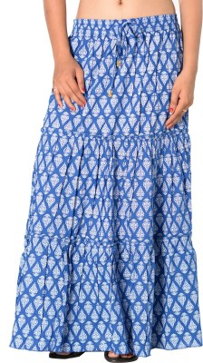 SBS Printed Women's Tiered Blue Skirt