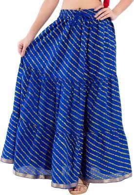 Kanak Striped Women's Regular Blue Skirt