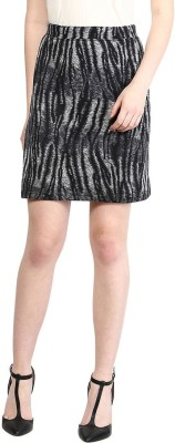 The Vanca Animal Print Women's A-line Blue Skirt