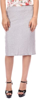 Gwyn Lingerie Solid Women's Straight Grey Skirt
