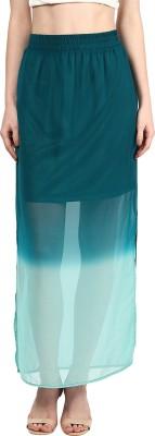 Harpa Solid Women's Straight Green Skirt
