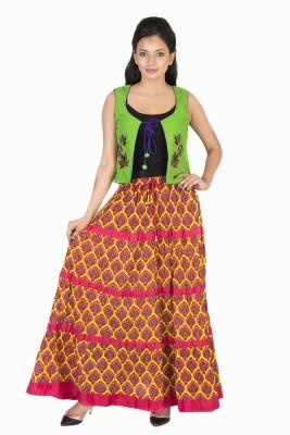 BigCart Printed Women's Regular Yellow Skirt