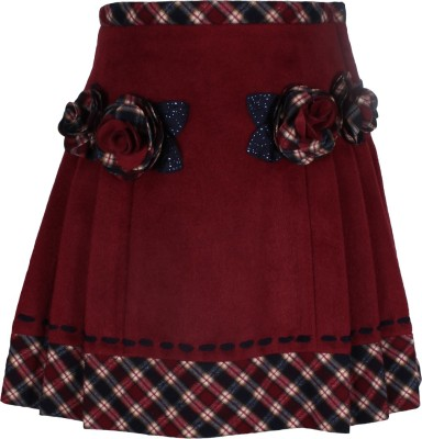 Cutecumber Solid Baby Girl's A-line Maroon Skirt
