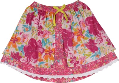 My Little Lambs Printed Girl's Gathered Pink Skirt