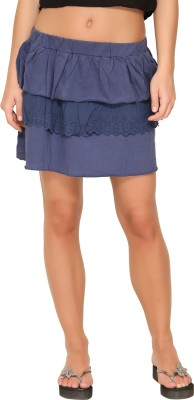 Alibi By Inmark Solid Women's A-line Dark Blue Skirt