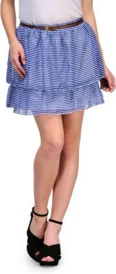 Kiosha Striped Women's Regular Blue Skirt