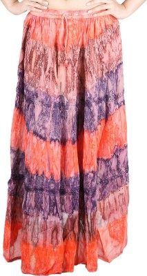 Franclo Floral Print Women,s Gathered Orange, Purple Skirt