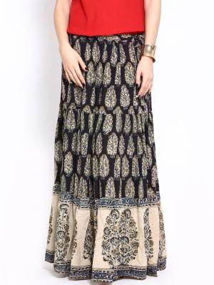 Fabindia Printed Women's A-line Brown Skirt