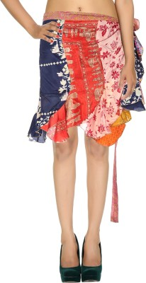 Rajrang Printed Women's Wrap Around Orange Skirt at flipkart