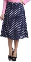 Bohemian You Polka Print Womens A-line Dark Blue Skirt