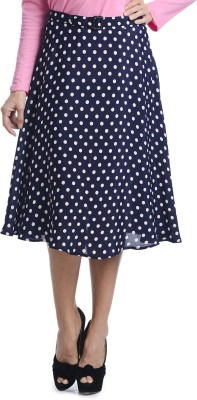 Bohemian You Polka Print Women's A-line Dark Blue Skirt