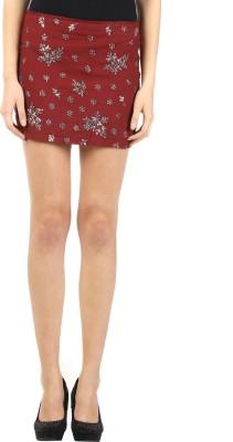 Ozel Embroidered Women's Regular Red Skirt