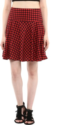 Abiti Bella Houndstooth Women's Regular Red Skirt