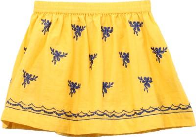 My Little Lambs Self Design Girl's Regular Yellow Skirt