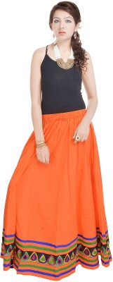 Prateek Exports Floral Print Women's Regular Orange Skirt at flipkart