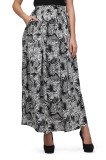 Eavan Printed Women's Pleated Black Skir...