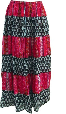 Revinfashions Floral Print Women's Wrap Around Red Skirt