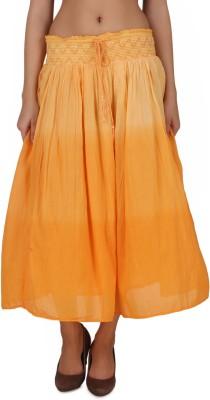 One Femme Solid Women's A-line Orange Skirt