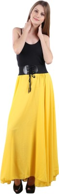 Krista Fashion Solid Women's Regular Yellow Skirt