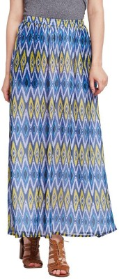 The Vanca Printed Women's A-line Blue Skirt